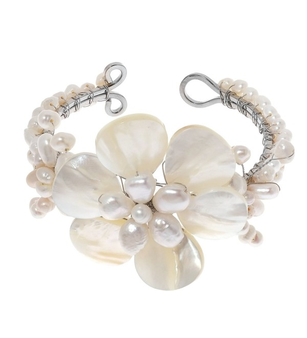 Lily Elegance White Shell Mother of Pearl Bracelet-Cultured Freshwater Pearl Beaded Cuff - CD11J1GH7W5