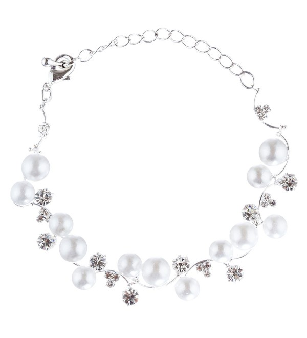 Bridal Bracelet Crystal Rhinestone Pearl White - C0118TD4BAL
