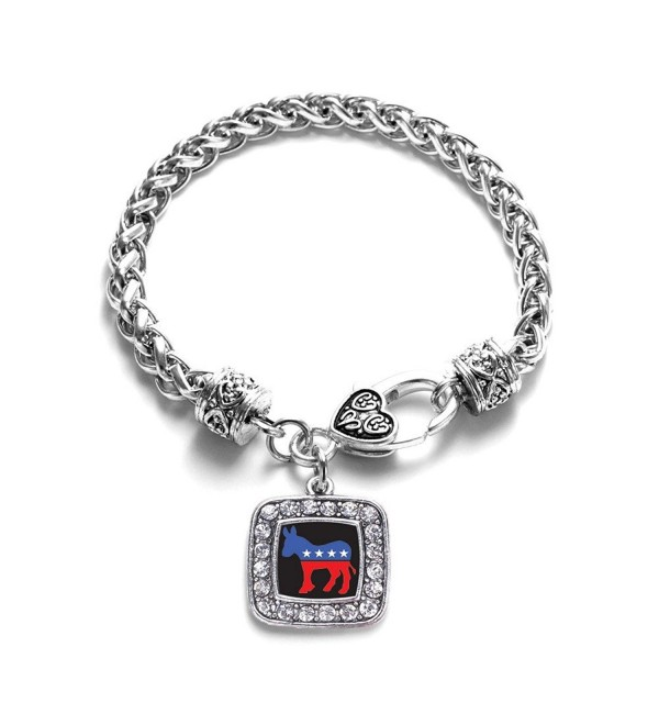 Democrat Leftist Obama Charm Classic Silver Plated Square Crystal Bracelet - CU11LI434ON