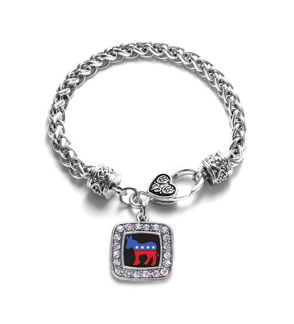 Democrat Leftist Obama Charm Classic Silver Plated Square Crystal Bracelet - CU11LI434ON
