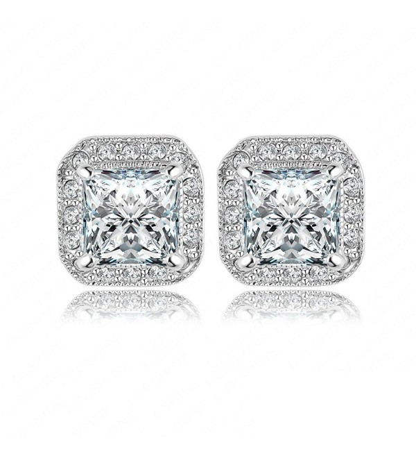 Womens Square Shape Sparking Cubic Zirconia Platinum Gold Plated Stud Earings 18k Sets - CS12NGE2K9M