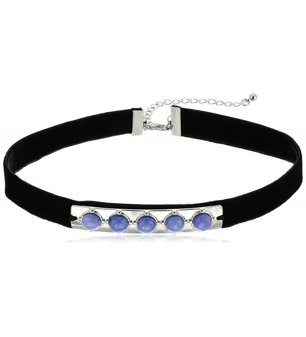Danielle Nicole Marcks Black Choker Necklace - Silver/Purple/Black - CS17Z6HQ2K7