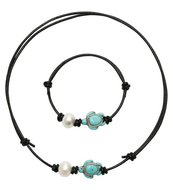 PearlyPearls Single Freshwater Cultured Pearl choker Necklace Jewelry Sets with Turtle Turquoise on Leather Cord - CU12I5WNNCN