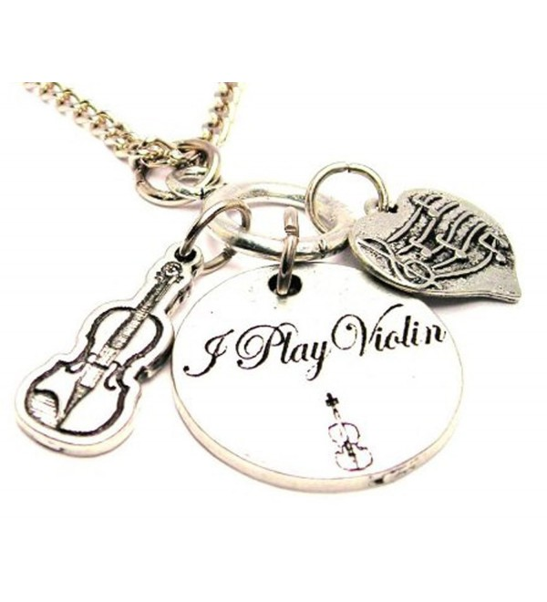 "ChubbyChicoCharms I Play Violin Multi Charm Cluster 18"" Necklace - C711HRH94QR"