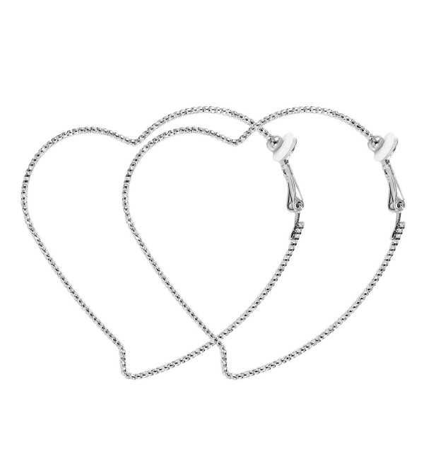 Fashion Heart Large Silver Hoop Clip On Earrings For Women 2.36 inch RareLove - Small Heart - CL186UA5L5K