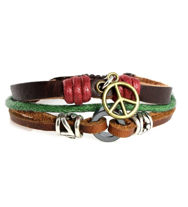 Think Peace Symbol Peace Sign Multi Strand Rugged Leather Zen Bracelet in Gift Box - CI118WSIXLR