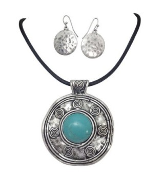 Tribal Disk on Leather Cord Simulated Turquoise Necklace & Earrings Set - CF12MYK2XEI