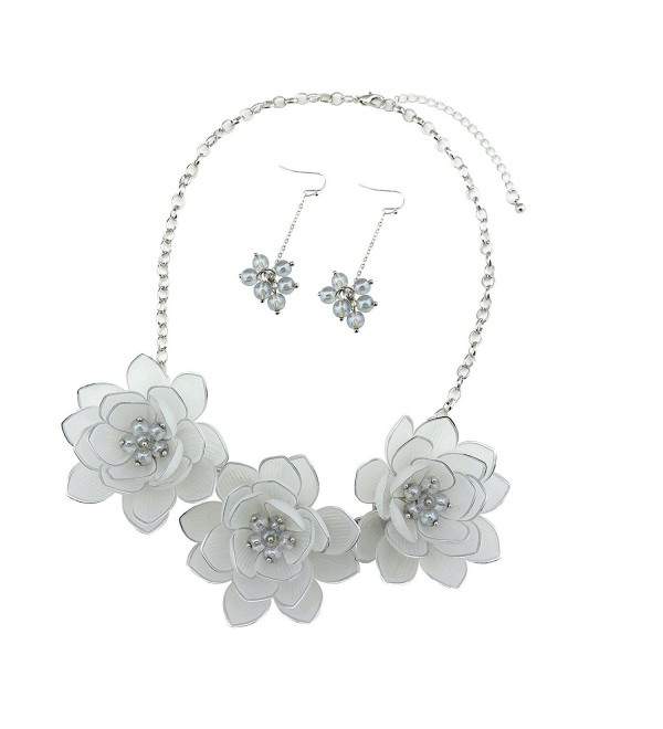 Bocar Bib Statement Pendant Dark Blue Flower Jewelry Set Necklace and Earrings for Women Gift - white - C4182INUN8L