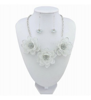 Statement Pendant Necklace Earrings NK 10372 white