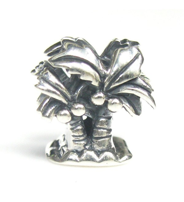 925 Sterling Silver Hawaii Beach Vocation Coconut Palm Tree Bead For European Charm Bracelets - CR11LIRTWV9