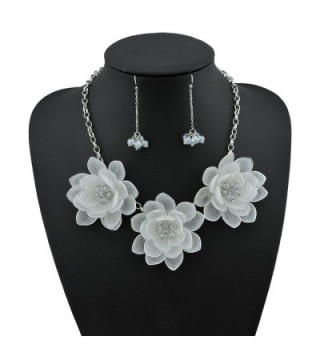 Statement Pendant Necklace Earrings NK 10372 white in Women's Pendants