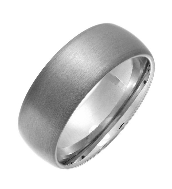 8mm Dome Brushed Plain Titanium Ring Mens Womens Wedding Bands Comfort Fit Size 5-16 - C812NU3BZ32
