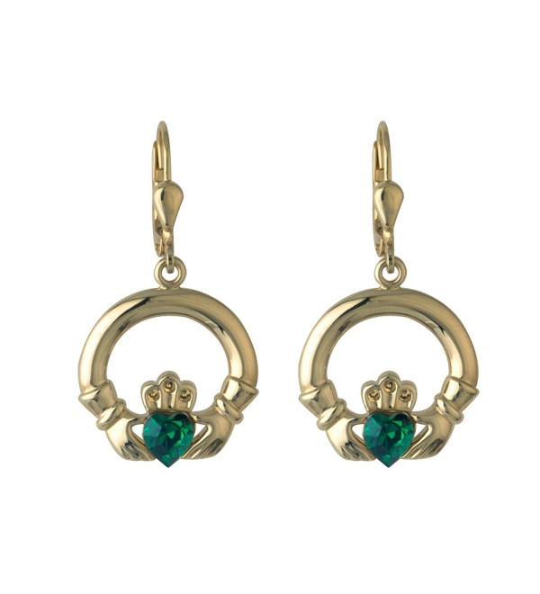 Claddagh Earrings Gold Plated & Synthetic Emerald Drops - CB116D5BPAV