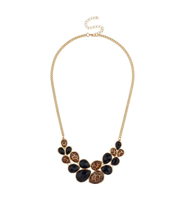 Lux Accessories Faceted Black Leopard Teardrop Stone Statement Bib Chain Necklace - CC11L7LRK8N