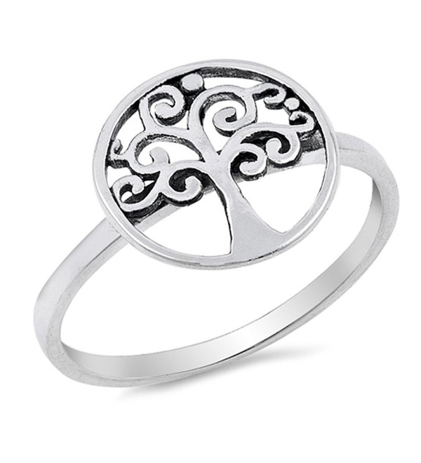 Filigree Cutout Tree of Life Cute Ring New .925 Sterling Silver Band Sizes 4-10 - CU12MYT6DWE