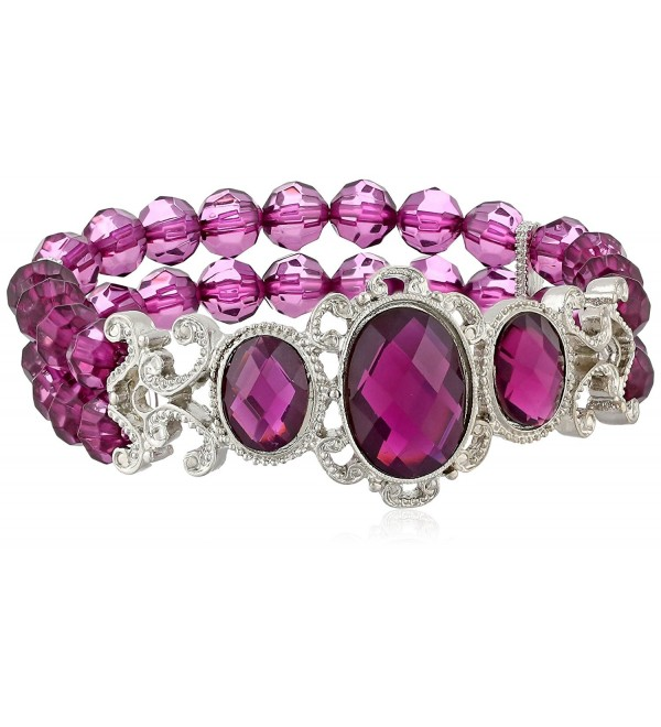 "1928 Jewelry ""Jeweled Filigree"" Silver-Tone Beaded Stretch Bracelet - Purple - C411OR5BNGV"