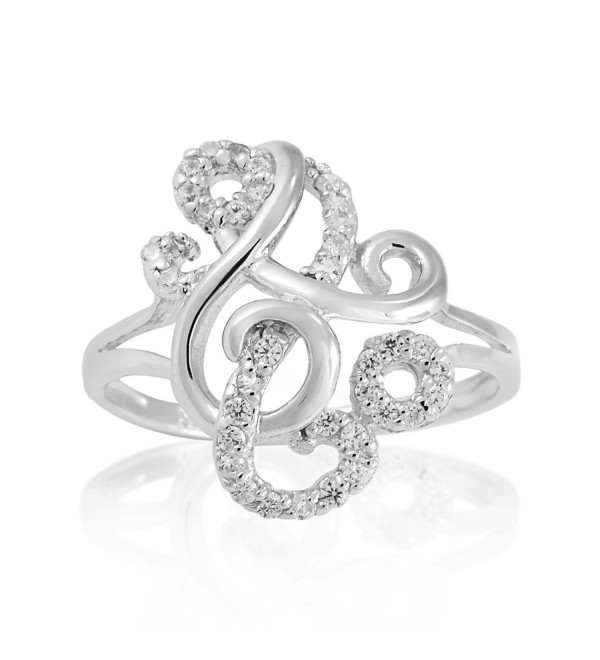 925 Sterling Silver Sparkling CZ Delicate Swirl Unique Band Ring - Nickel Free - CR11W4KAZDH