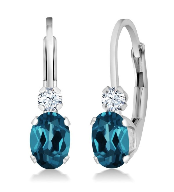 1.18 Ct Oval London Blue Topaz White Sapphire Gemstone Birthstone 925 Sterling Silver Leverback Earrings - CL11M2I2R1F