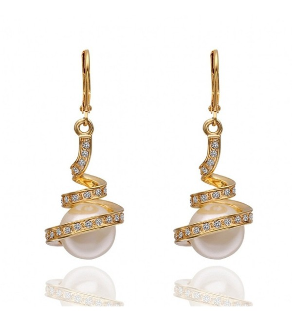 AOVR Fashion Women's 18K Gold Plated Crystal Pearl Party Spiral Drop Earrings - Gold - CO17Z5UZAHZ