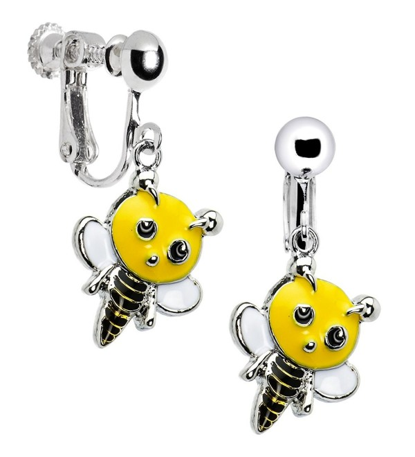Handcrafted Buzzing Bumble Bee Clip Earrings - CG114OUEP8H