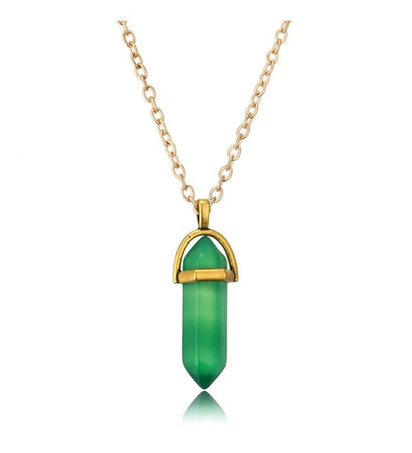 Green Artificial Gemstone Pendant Necklace Natural Quartz Crystal Point Chakra Healing Stone (Pack Of 2) - CB128QXBCH9