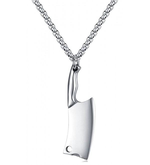 Xusamss Fashion Classic Titanium Steel Kitchen Knife Tag Pendant Necklace-24inches Chain - White - CT17Y0NOWN2