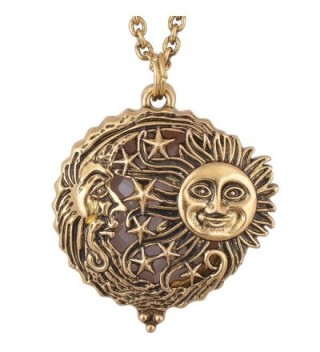 Sun Moon and Star Magnifier Glass Pendant Necklace Antique Gold Magnetic close and open - C212E5L4GB5