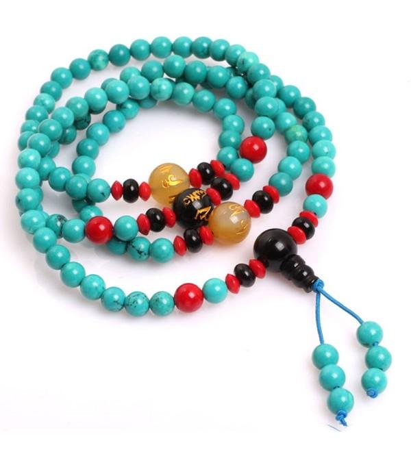 Gem-inside 6mm Blue Turquoise Catholic Christian 108 Mala Buddhist Prayer Rosary Beads Bracelet Jewelry 28 Inches - CU1827TAT9Y