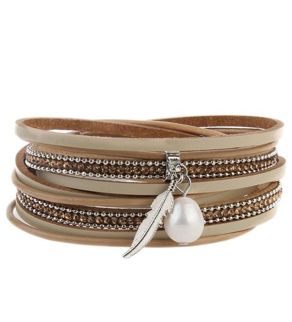 Leather Charm Bracelets Braided Wrap Bracelet Pearls Feather Jewelry for Girls Women - A Foundation - CN186UYDQAM