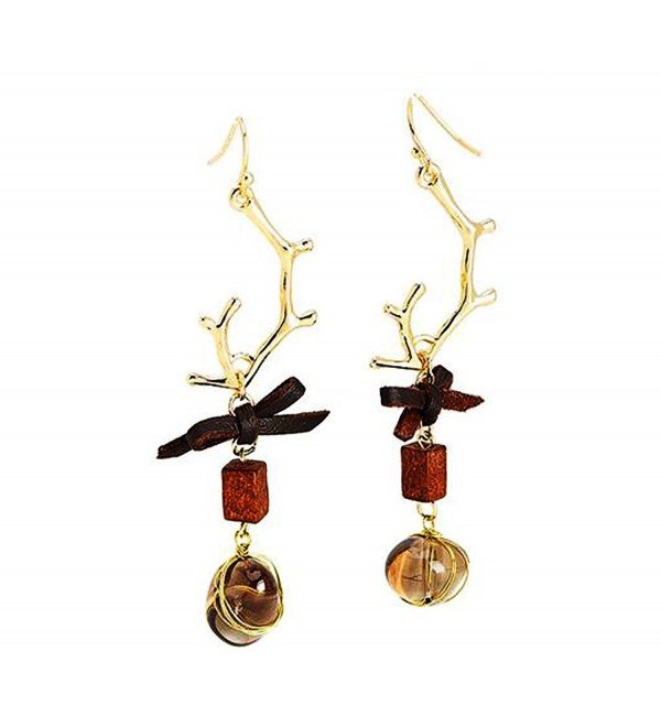 The Beautiful Dangle Earrings consisting of Brown Crystals and Antlers shape Style by HIYOU-Home - CZ185CURGCE