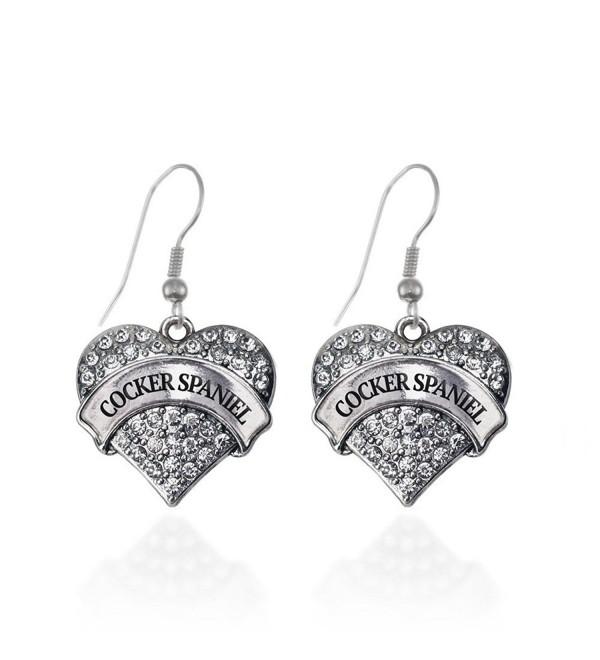 Cocker Spaniel Pave Heart Earrings French Hook Clear Crystal Rhinestones - CA1240JWRJF