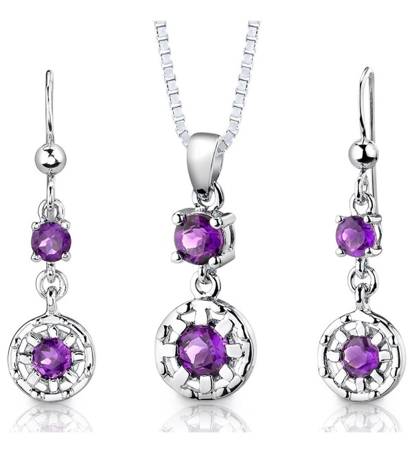 Amethyst Pendant Earrings Necklace Sterling Silver Rhodium Nickel Finish Round Shape 2.00 Carats - CF112T4E5V7