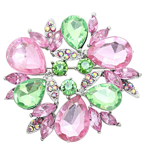 Rosemarie Collections Women's Sparkling Rhinestone Wreath Statement Brooch Pin - Pink and Green - CW12OCZV93Y