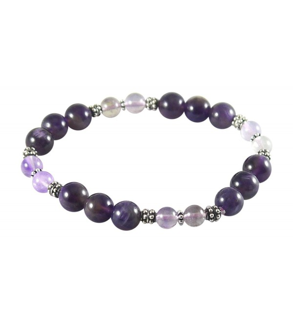 "Amethyst Bracelet with Super Seven- Melody Stone- 7 1/4""- Sterling Silver- Stretch - C112J9F7ADH"