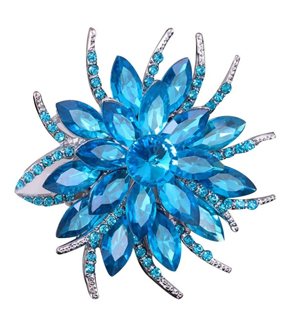 SANWOOD Wedding Bridal Large Flower Rhinestone Scarf Brooch Broach Pin Crystal Breastpin Jewelry (Lake Blue) - CH1833LE5TZ