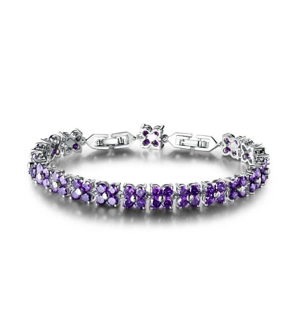 GULICX White Gold Plated Brass Purple Cubic Zirconia Crystal Women Tennis Bracelet for Women - C012EQ6WUP3
