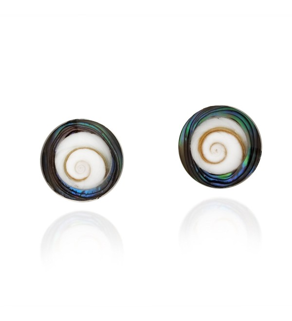 Modish Round Rainbow Abalone Shell Swirl Shiva .925 Sterling Silver Post Earrings - C91262EO6S1