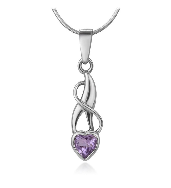 925 Sterling Silver Purple Amethyst Gemstone Heart Endless Love Pendant Necklace- 18 inches - CY12O668K6K