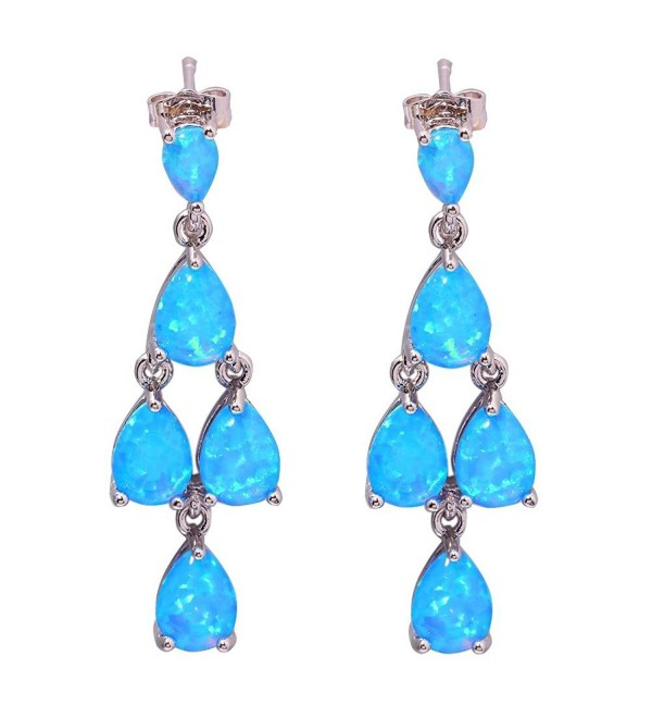 "CiNily Blue Fire Opal Women Jewelry Gemstone Rhodium Plated Earrings 1 3/8"" - C512MTOQZ0Z"