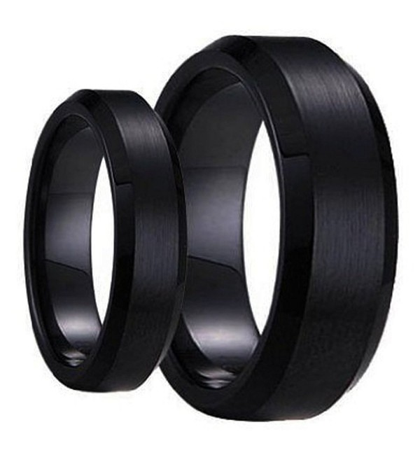 His & Her's Matching Set 6mm / 8mm Black Brushed Center Beveled Edge Tungsten Carbide Wedding Band Set - CW11C3B4ROB