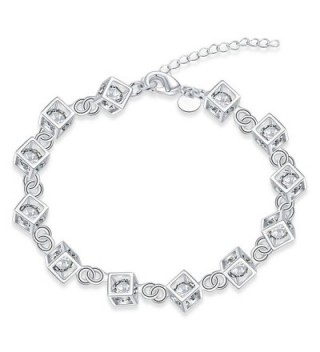 Godyce Zircon Cube Necklace and Earrings Bracelet Set Women Jewelry Silver Zircon - With Gift Box - CV12JIS0BG9