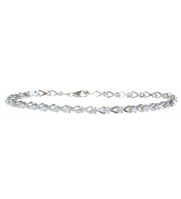 Classical 925 Sterling Silver Women Tennis Bracelet with Cubic Zirconia/CZ - 7.3 inch3mm- 7 Grams - CR118Q8GF8V