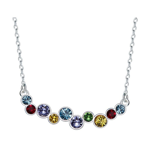 Looyar 925 Color Swarovski Crystal Necklace Earrings Circle Sterling Silver elegant noble jewelry - C2186WK25XO