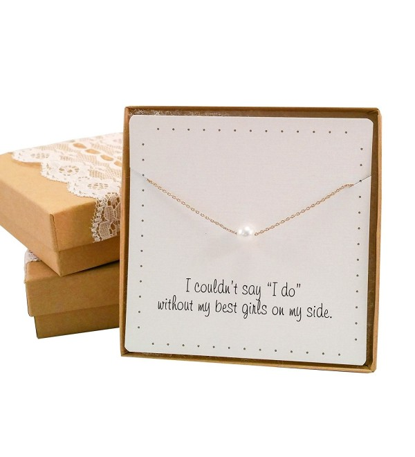 Bridesmaid Gift Set - Pretty Single Floating Pearl Necklace (Gold color- Simulated Pearl) - CM122TZUU2X