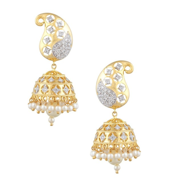 Swasti Jewels Bollywood Style CZ Indian Jewelry Jhumka Earrings for Women - CI12BP6NJI9