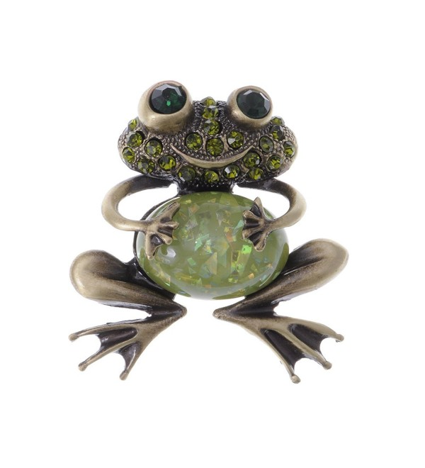 Alilang Brass Tone Peridot Green Colored Rhinestones Animal Smiley Frog Brooch Pin - CG112TAPP87