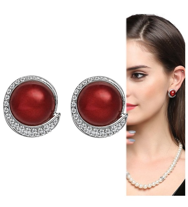 Red Clip on Earrings with Erxtra Large Faux Pearl Antique Cute Earrings for Women - C011LTWULOP
