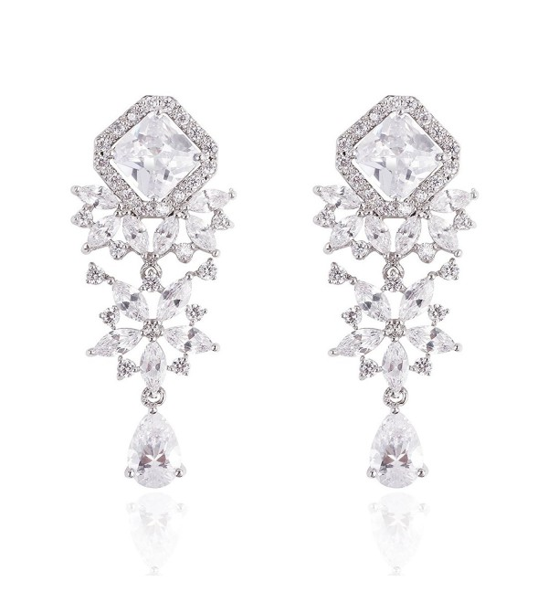 Wordless Love Rhodium Plated Princess Cut Cubic Zirconia Teardrop Bridal Dangle Earrings White - CX12IN50RC1