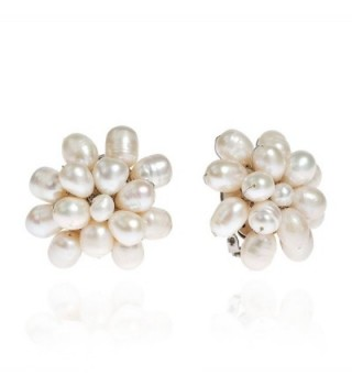 Pretty Cultured Freshwater White Pearls Cluster Clip On Earrings - CQ121EQPLNL