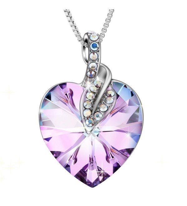 "Sivery ""Blessed Love"" Pendant Fashion Necklace with Purple Swarovski Crystals- Jewelry for Women - CR17X0L0QR6"